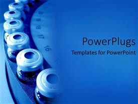 PowerPlugs: PowerPoint template with row of medical bottles new, all filled with pills
