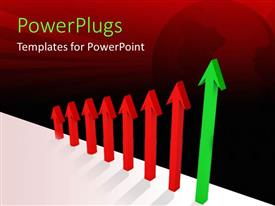 PowerPoint template displaying row of three dimensional red arrows increasing size with final green arrow