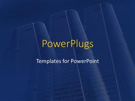 PowerPoint template displaying row of three identical business skyscrapers on dark blue background