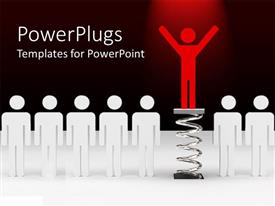 PowerPlugs: PowerPoint template with row of white figures with red figure rising above
