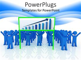 PowerPoint template displaying rows of blue characters with a graph on a white background