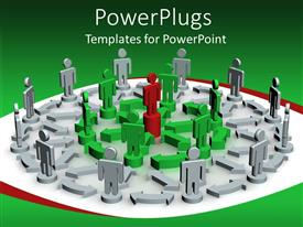 PowerPlugs: PowerPoint template with rows of figures standing on chart with arrows connecting them, larger gray row, middle green row and red figure in the center, depicting leadership and teamwork