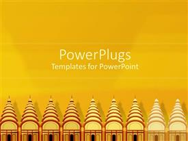 PowerPoint template displaying rows of temples, religious architecture, spirituality, world religion