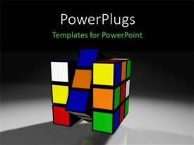 PowerPoint template displaying a rubix cube with grayish and blackish background
