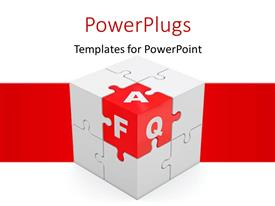 PowerPoint template displaying rubix presenting FAQ concept with white color