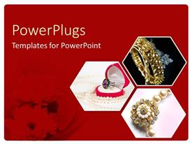 PowerPlugs: PowerPoint template with ruby ring, pearl necklace, jewelry, red floral background