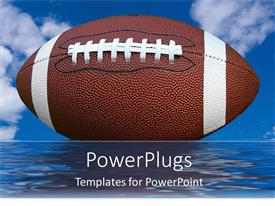 PowerPlugs: PowerPoint template with a rugby ball with clouds in the background