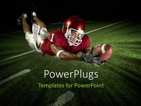 PowerPlugs: PowerPoint template with a rugby player catching the ball with field in the background
