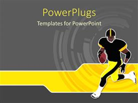 PowerPlugs: PowerPoint template with a rugby player running while holding the ball