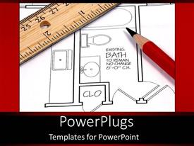 PowerPlugs: PowerPoint template with ruler and pencil on plans for house remodel