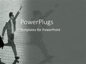 PowerPlugs: PowerPoint template with running business man with suitcase and raised hand calling for taxi