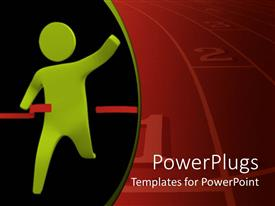 PowerPoint template displaying running green figure breaks red ribbon at finish line