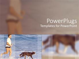 PowerPlugs: PowerPoint template with running man holding dog in leash and blurred close up of man and dog