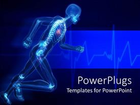 PowerPlugs: PowerPoint template with running man with skeleton x-ray visible in blue background