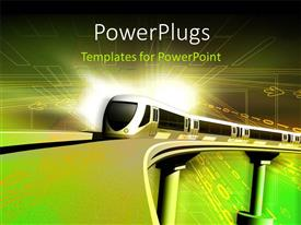 PowerPlugs: PowerPoint template with running metro train on track in green color background
