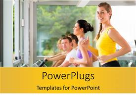 PowerPlugs: PowerPoint template with running on treadmill in gym, women and men exercising to gain more fitness