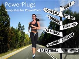 PowerPlugs: PowerPoint template with running woman on a road with trees, signpost with words related to sports golf football cycling tennis running aerobics squash walking basketball swimming