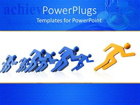 PowerPlugs: PowerPoint template with running yellow figure leads group of blue figures in race