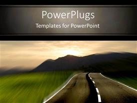 PowerPlugs: PowerPoint template with rural highway with motion blur and mountain background