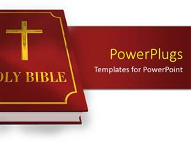 PowerPlugs: PowerPoint template with a large red colored holy bible over a white surface