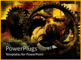 PowerPlugs: PowerPoint template with rusty gears with vintage cracked background, industrial, manufacturing