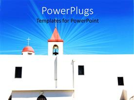 PowerPlugs: PowerPoint template with s beautiful church with a bluish background