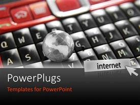 PowerPlugs: PowerPoint template with s small black 3D globe on a phone key pad