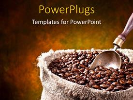 PowerPlugs: PowerPoint template with a number of coffee beans with yellowish background