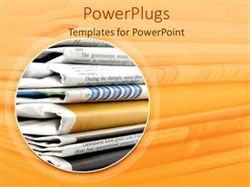 PowerPlugs: PowerPoint template with sack of folded news papers with an orange background