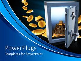 PowerPlugs: PowerPoint template with safe open with lots of gold bars inside and coins