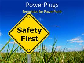 PowerPlugs: PowerPoint template with safety first sign board with farm and sky in the background