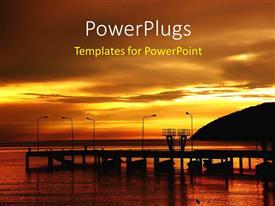 PowerPoint template displaying sai Keow beach Royal Thai Navy Academy with sunset on horizon