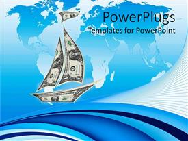 PowerPoint template displaying sailboat made from dollar bills in blue background with map