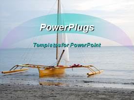 PowerPoint template displaying sailboat in the ocean with blue sky background