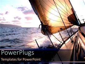 PowerPlugs: PowerPoint template with sailing boat on ocean with waves at sunset with clouds for a traveler as a metaphor on a blue background