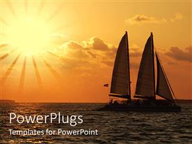 PowerPoint template displaying sailing at dusk under orange beautiful sky