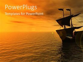 PowerPlugs: PowerPoint template with sailing ship on sea in the sunset, boat, ship, water