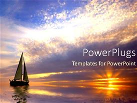 PowerPoint template displaying sailing at sunset purple and orange calm waters ocean sea travel