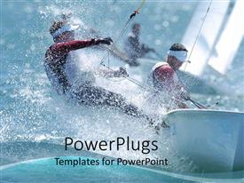 PowerPlugs: PowerPoint template with sailors trimming sails on boat on rough water