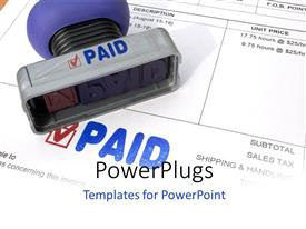PowerPoint template displaying sales invoice with paid stamp sitting on invoice