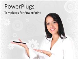 PowerPlugs: PowerPoint template with sales woman demonstrating product, selling, retail, white background