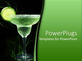 PowerPlugs: PowerPoint template with salt rimmed margarita glass with lime slice