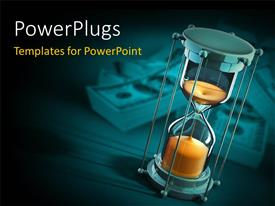 PowerPlugs: PowerPoint template with a sand clock with a liquid in it and dollars in the background