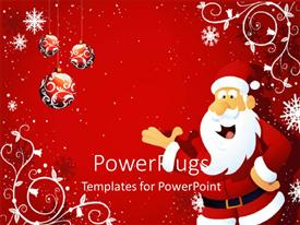 PowerPlugs: PowerPoint template with santa being happy with reddish background