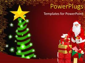 PowerPlugs: PowerPoint template with a Santa with a Christmas tree