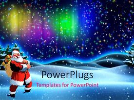 PowerPlugs: PowerPoint template with santa Claus with gift bag in snow field over colorful background