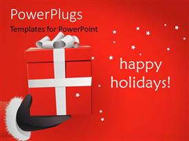 PowerPlugs: PowerPoint template with santa Claus with gift box in hand and stars on red background