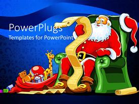 PowerPlugs: PowerPoint template with santa Claus sitting in green armchair with red sack of gifts