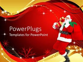 PowerPlugs: PowerPoint template with santa Claus walking with gift bag and boxes over shoulder