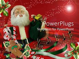 PowerPoint template displaying a Santa clause character holding lots of gifts on a red background
